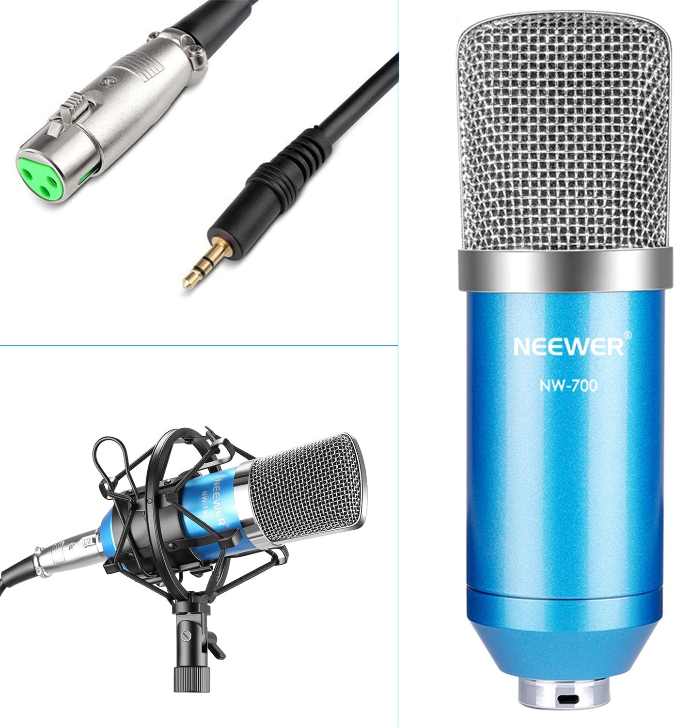 Neewer NW-700 Blue Professional Condenser Microphone /& NW-35 Blue Suspension Boom Scissor Arm Stand with XLR Cable and Mounting Clamp /& NW-3 Pop Filter /& 48V Phantom Power Supply with Adapter Kit