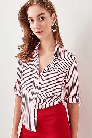 LFMDSY Camisa Mujer Casual Elegancia Camisa a Rayas Rojas TWOSS19ST0058: Amazon.es: Deportes y aire libre