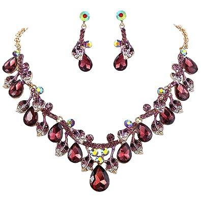 Clearine Women's Vintage Inspired Crystal Butterfly Flower Leaf Vine Statement Necklace Dangle Earrings Set WyyOZO