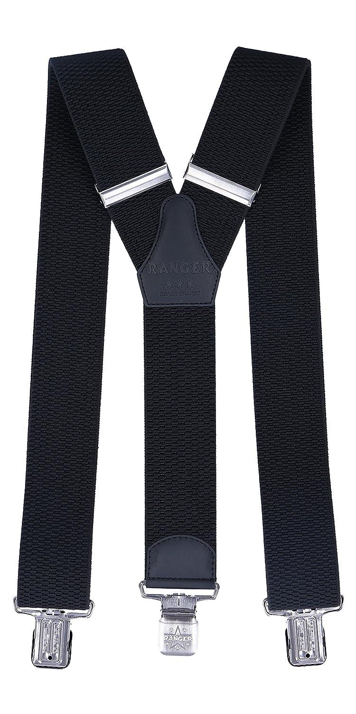 0a8315b6b8f Ranger Men s Braces Y Shape Suspenders Heavy duty Dyk50 B - 5cm x 130cm -  Black  Amazon.co.uk  Clothing