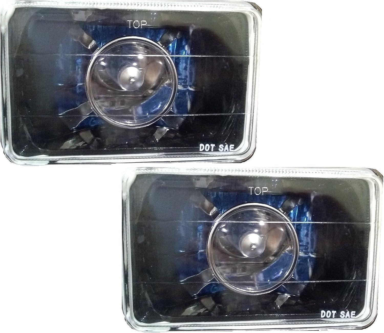 Universal Premium 4 x 6 4x6 Rectangular Black Projector Headlight Blue DRL H4 Xenon Bulb 90//100 WATT LHP-4X6JM