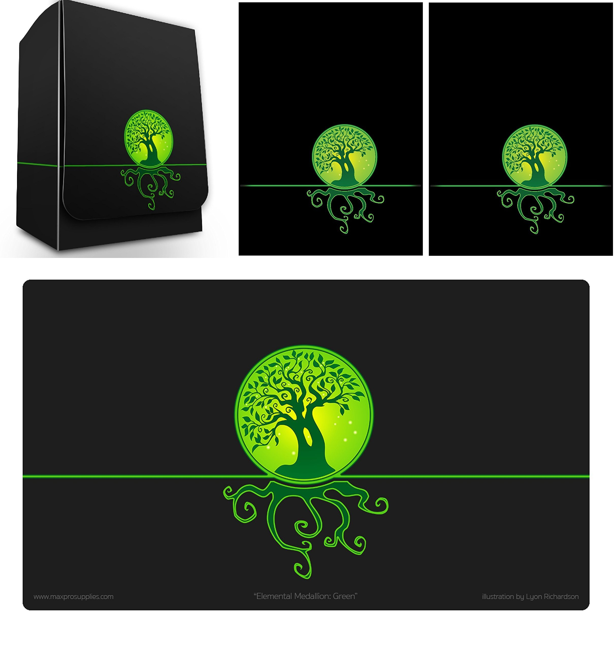 Max-Pro 1 ICONIC ELEMENTAL Life Symbol GREEN Deck Box , PLAYMAT and 100 Shuffle-Tech Sleeves (fits MTG Mana FORCE OF WILL Pokemon Cards) by Max Protection