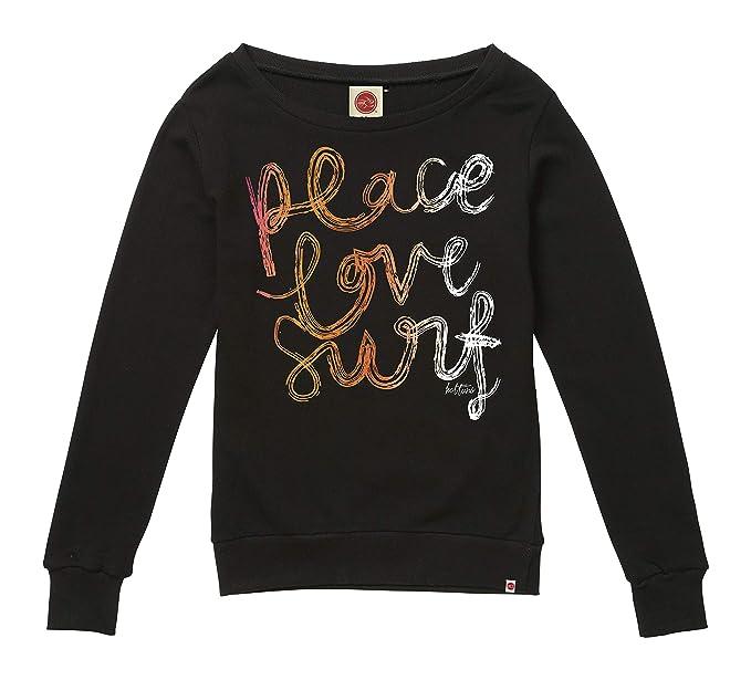 Hot Tuna Peace Love Surf-Ladies Crew Sweat, Sudadera para Mujer, Negro (