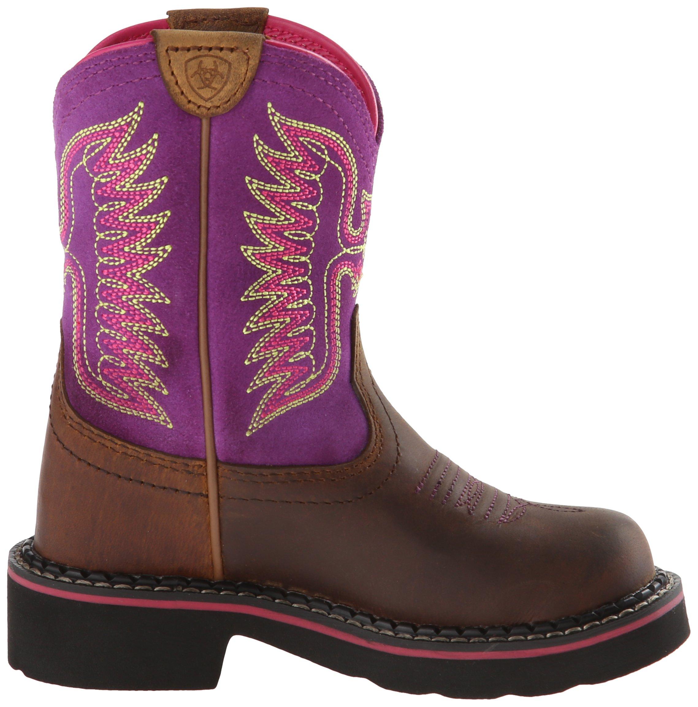 Kids' Fatbaby Thunderbird Western Cowboy Boot, Powder Brown/Amethyst, 12.5 M US Little Kid by ARIAT (Image #7)