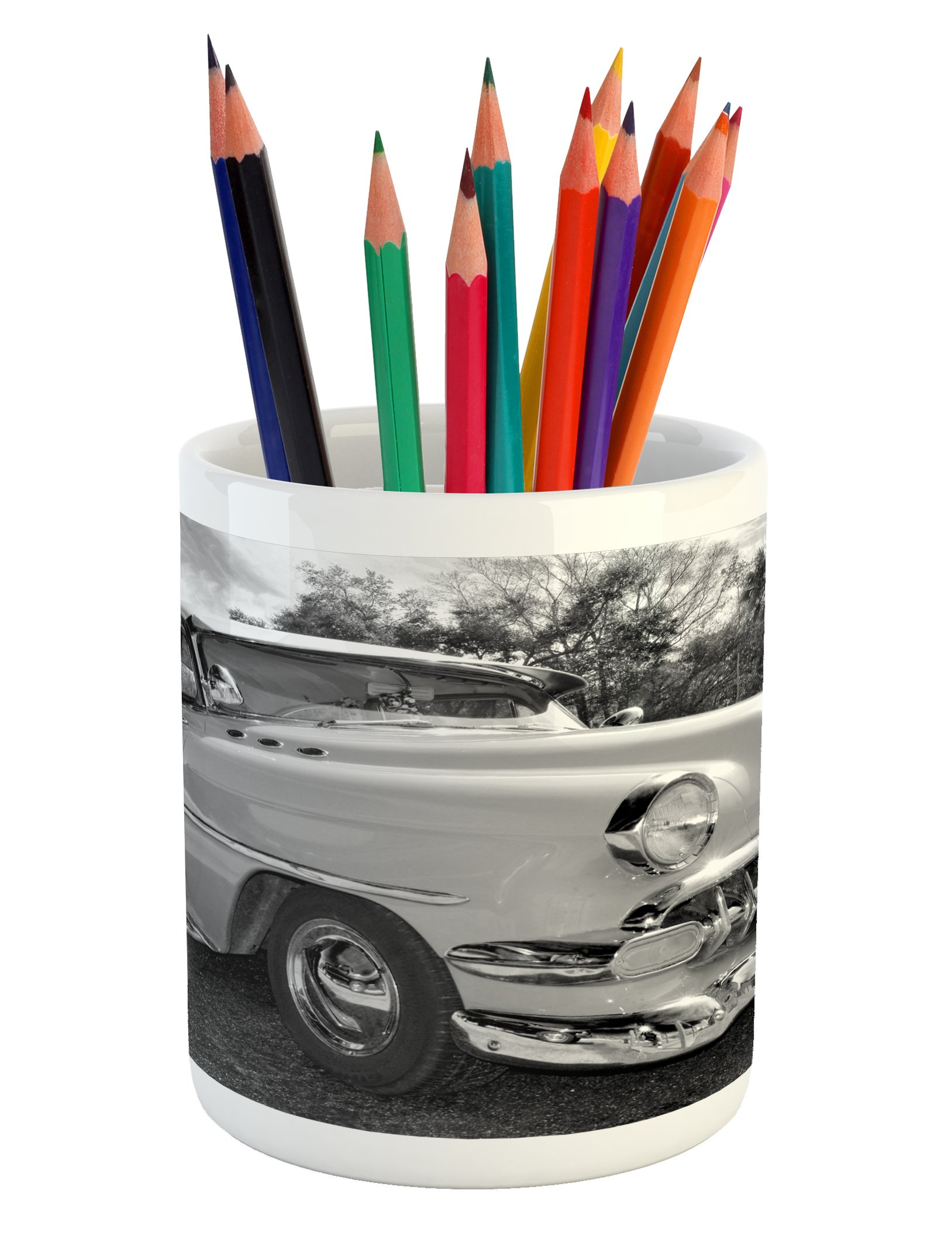 Lunarable Vintage Pencil Pen Holder, 50s 60s Retro Classic Pin Up Style Cars in Hollywood Movies Image Artwork, Printed Ceramic Pencil Pen Holder for Desk Office Accessory, Black White and Gray