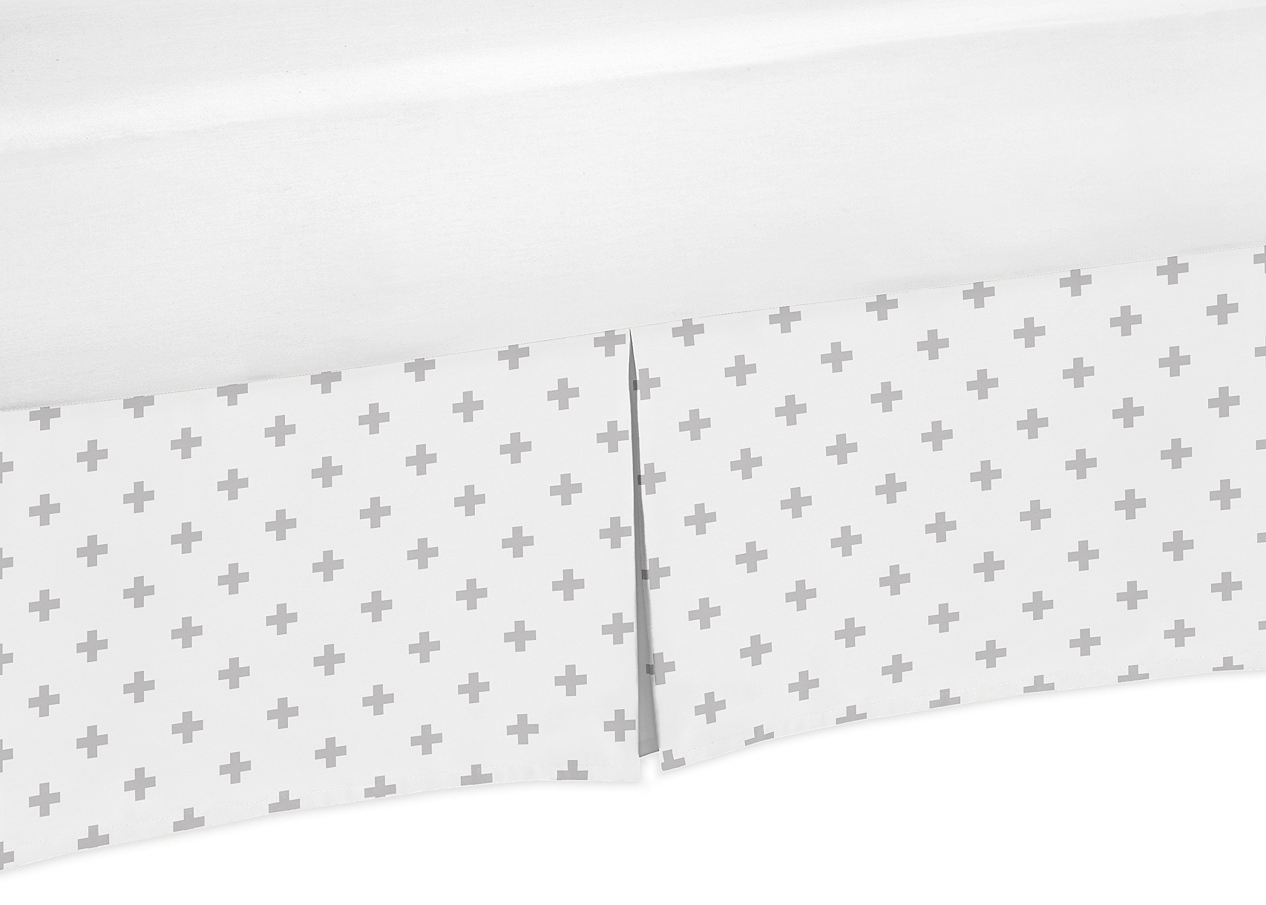 Sweet Jojo Designs Grey and White Swiss Cross Boy or Girl Unisex Pleated Crib Bed Skirt Dust Ruffle for Woodsy Collection by
