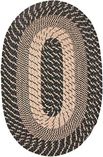 product image for Constitution Rugs Plymouth Braided Rug in Black Sand (5' x 8' Oval) Made in New England