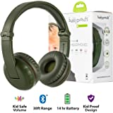 BuddyPhones Play Wireless Bluetooth Headphones for Kids | Kids Safe Volume Limited to 75, 85 or 94 dB | Foldable with 14-Hour Battery Life | Optional Cable for Audio Sharing | Green