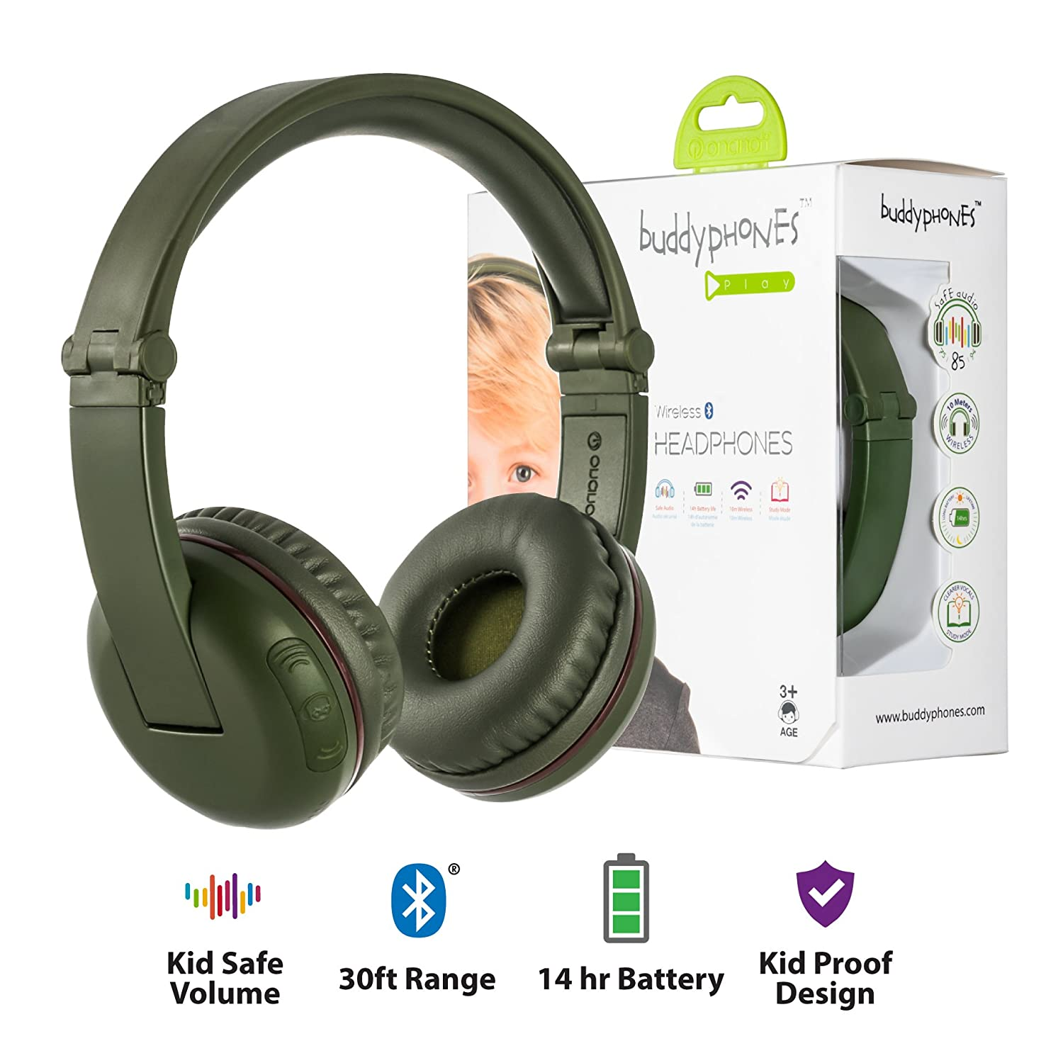 BuddyPhones Play - Wireless Bluetooth Volume-Limiting Kids Headphones -  14-Hour Battery Life - 4 Volume Settings of 75, 85, 94db and StudyMode -
