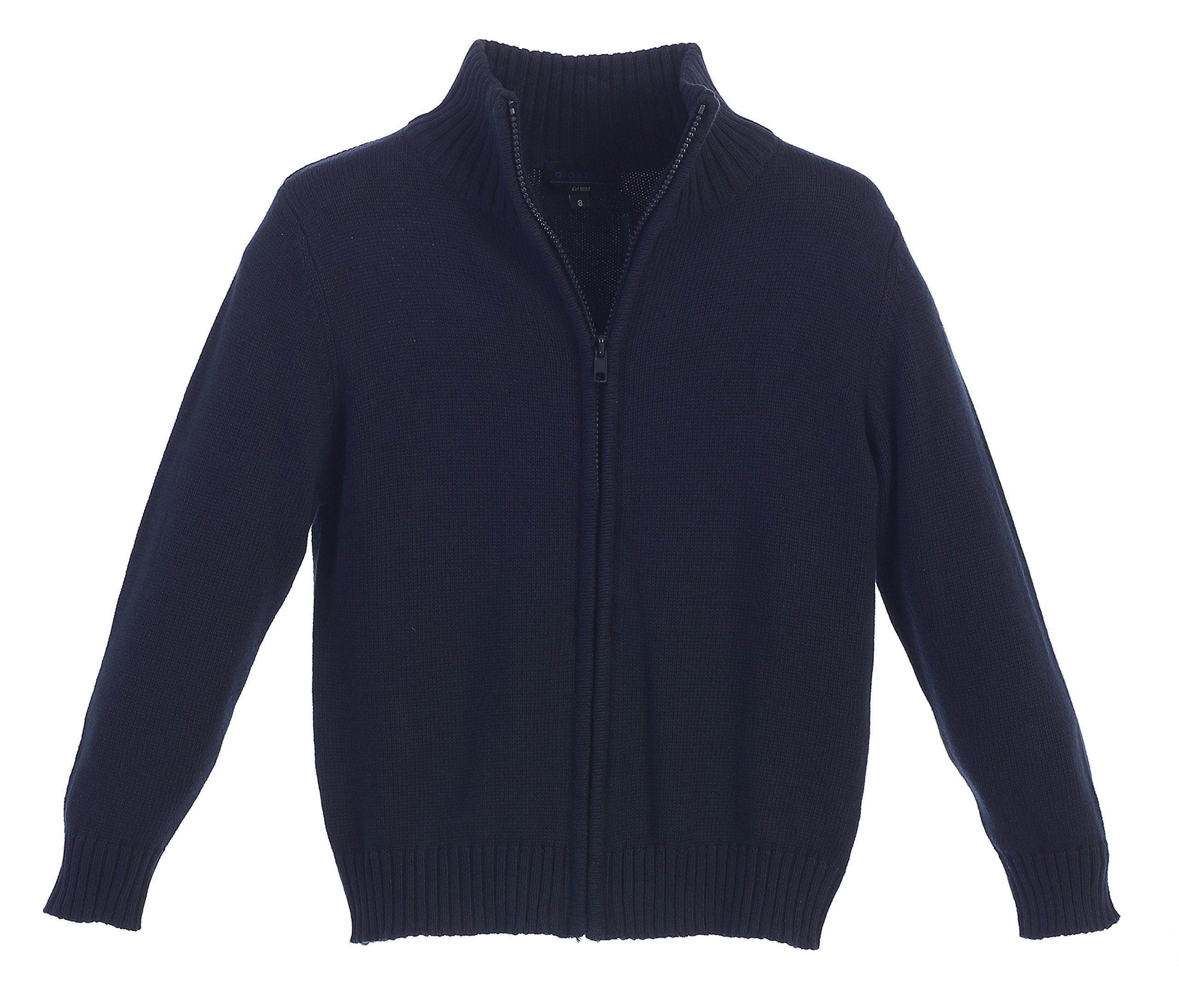 Gioberti Boy's Knitted Full Zip 100% Cotton Cardigan Sweater, Navy, Size 7