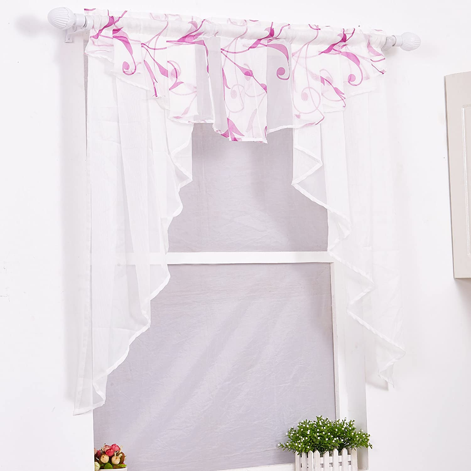 ISINO 1 Piece Rod Pocket Sheer Voile Swag Roman Curtain Window Valance for Kitchen Balcony W 31