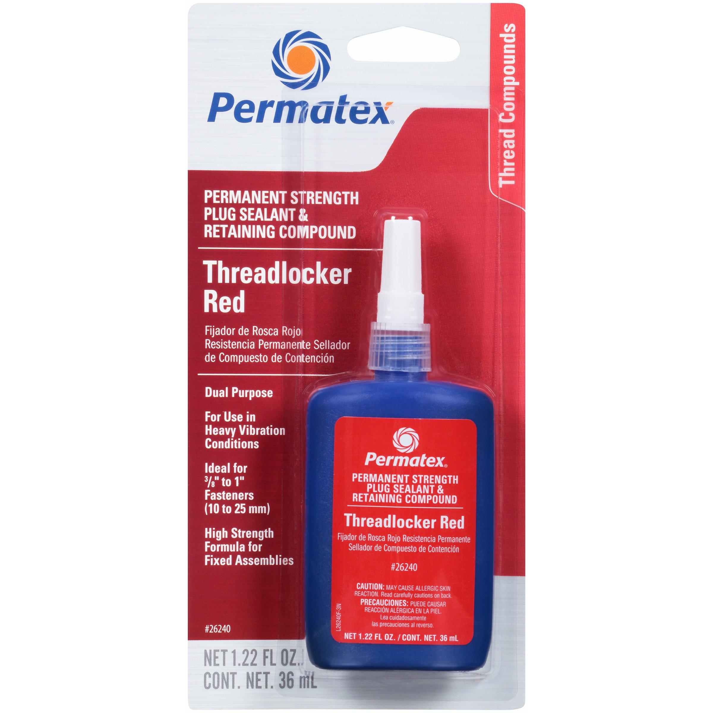 Permatex 26240-6PK Red Permanent Strength Threadlocker - 36 ml Bottle, (Pack of 6) by Permatex