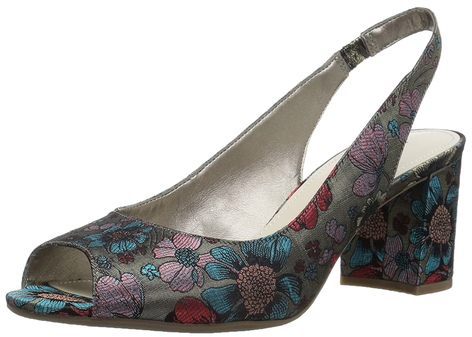 Anne Klein Women's Maurise Peep Toe Sling-Back Pump B07BL5VK15 5.5 M US|Taupe/Turquoise/Red Fabric