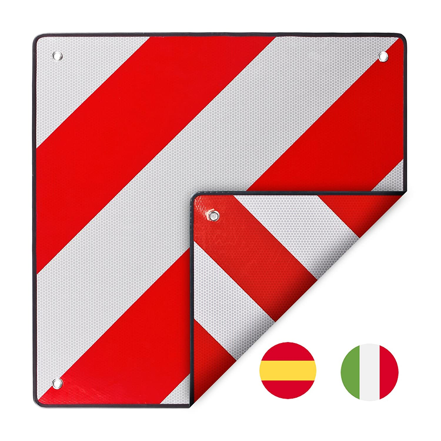 Reflective Warning Sign Italy and Spain Aluminium) 50  x 50  cm in Red/White ECD