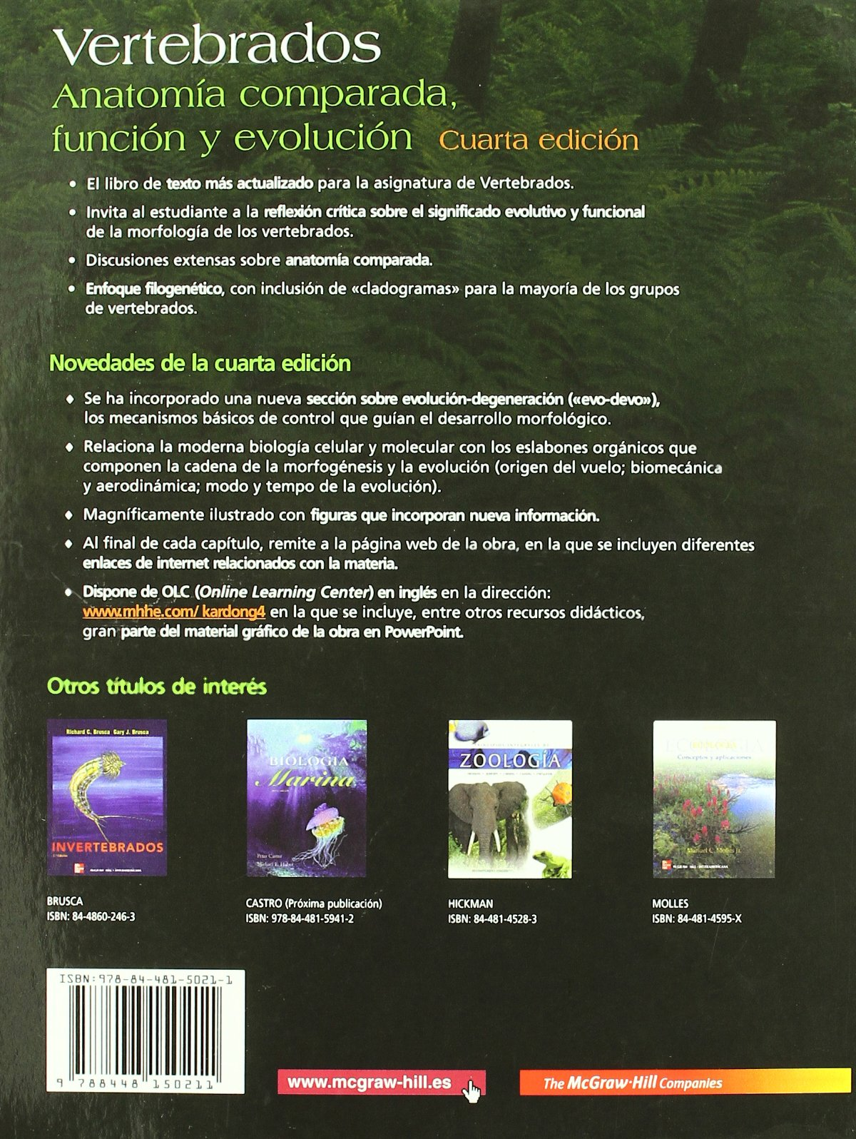 VERTEBRADOS: ANATOMIA COMPARADA. FUNCION Y EVOLUCION: Amazon.es ...