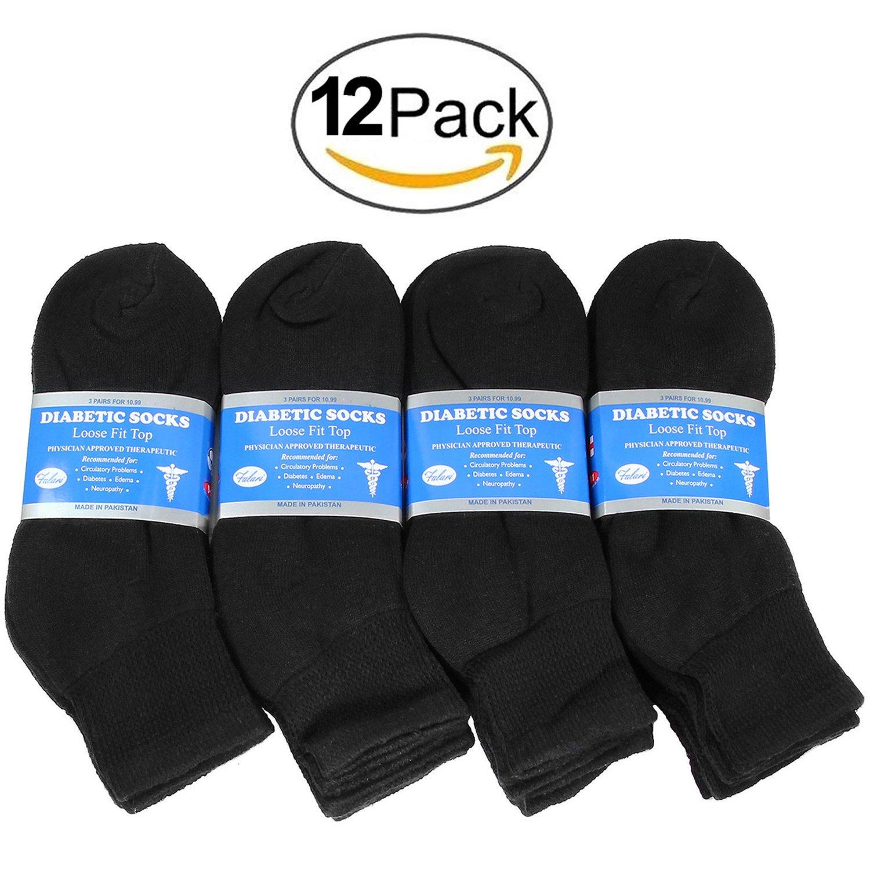 Falari Diabetic Socks Ankle Men Unisex Size 10-13 Black 3040-12PAIRS
