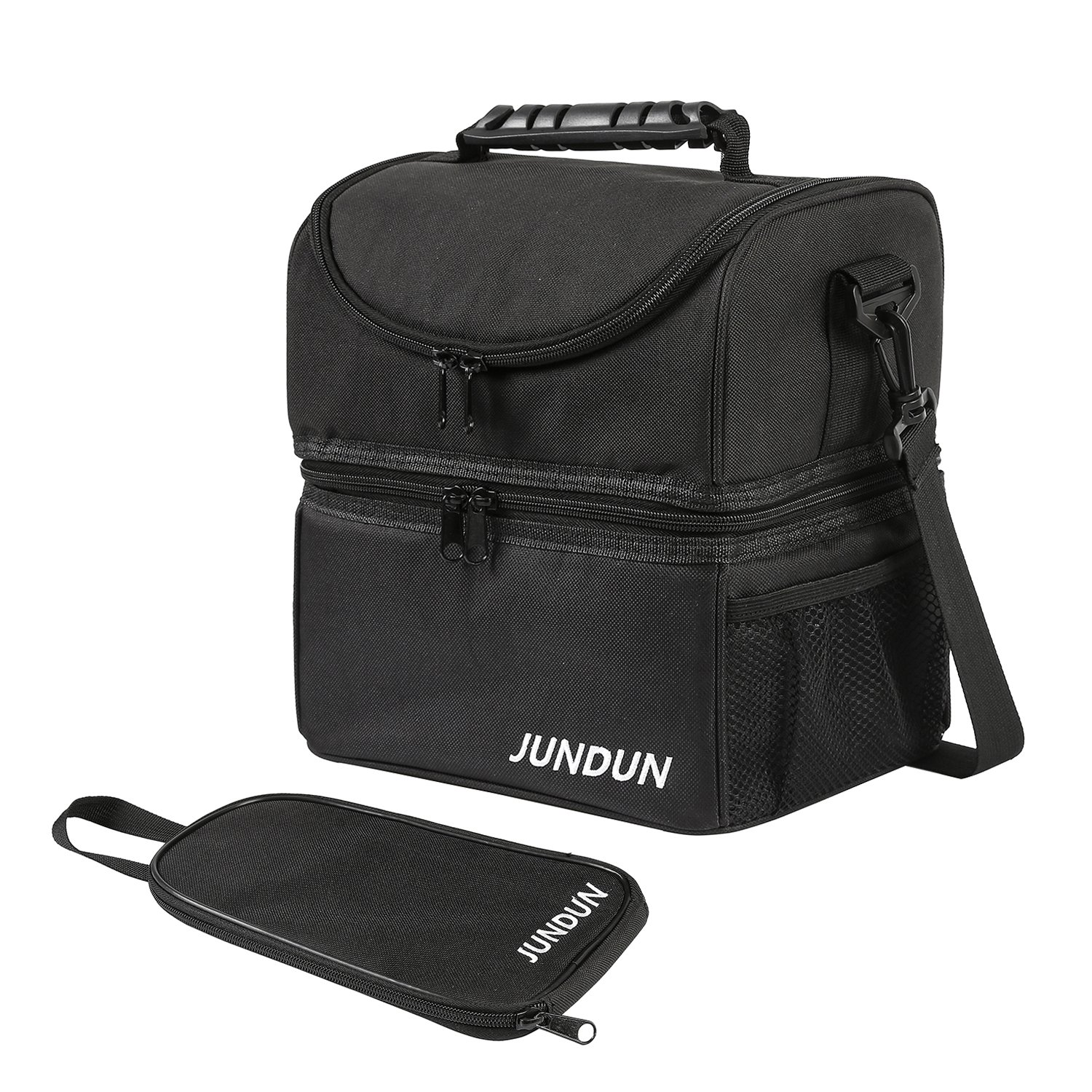 f18f61ca6011 JUNDUN Lunch Bag Double Insulated Cooler Tote Lunch Box with Shoulder Strap  for Men  Women (Black)  Amazon.co.uk  Kitchen   Home