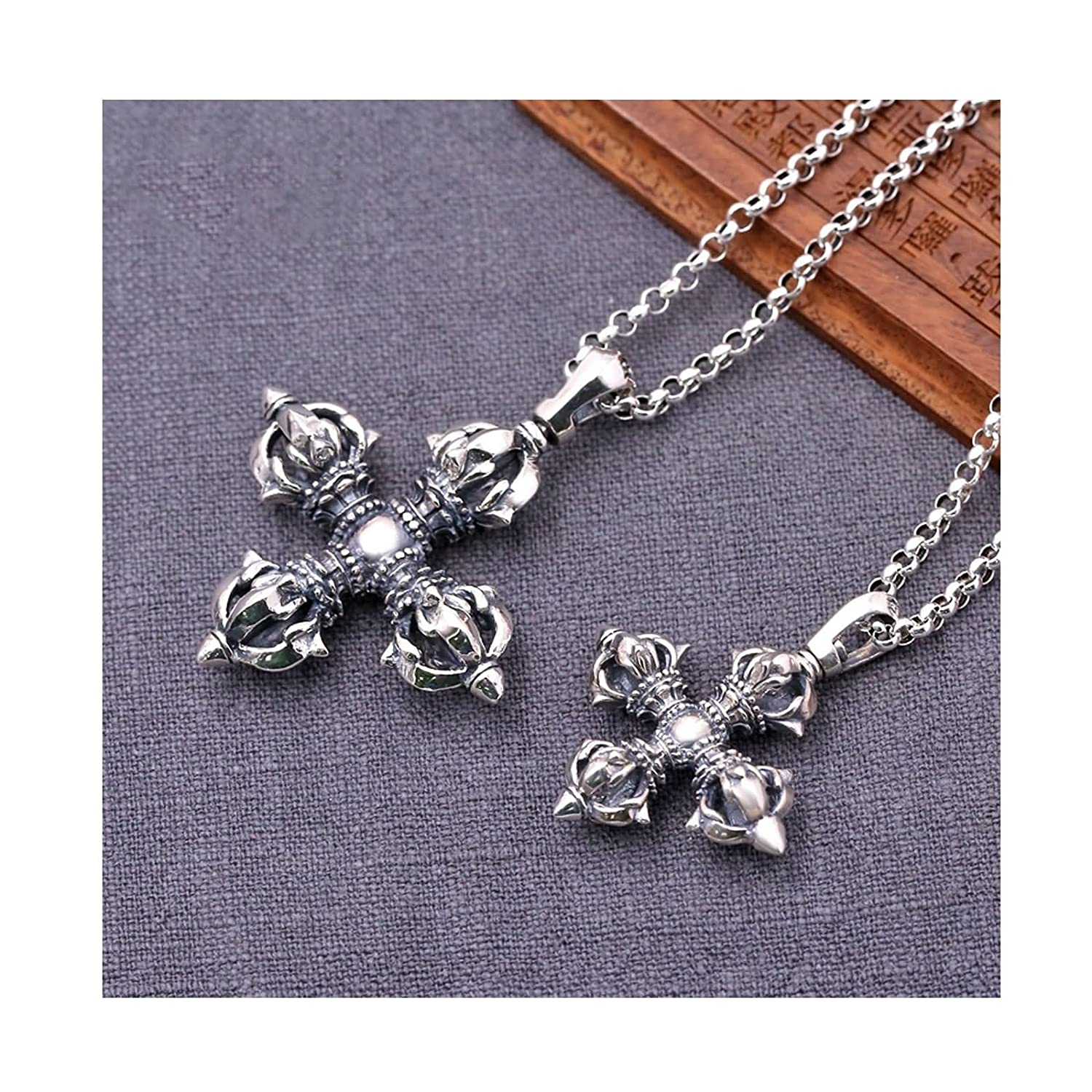 KnSam Mens Womens Sterling Silver Necklace with Pendant Vintage Retro Chain Vajra Cross