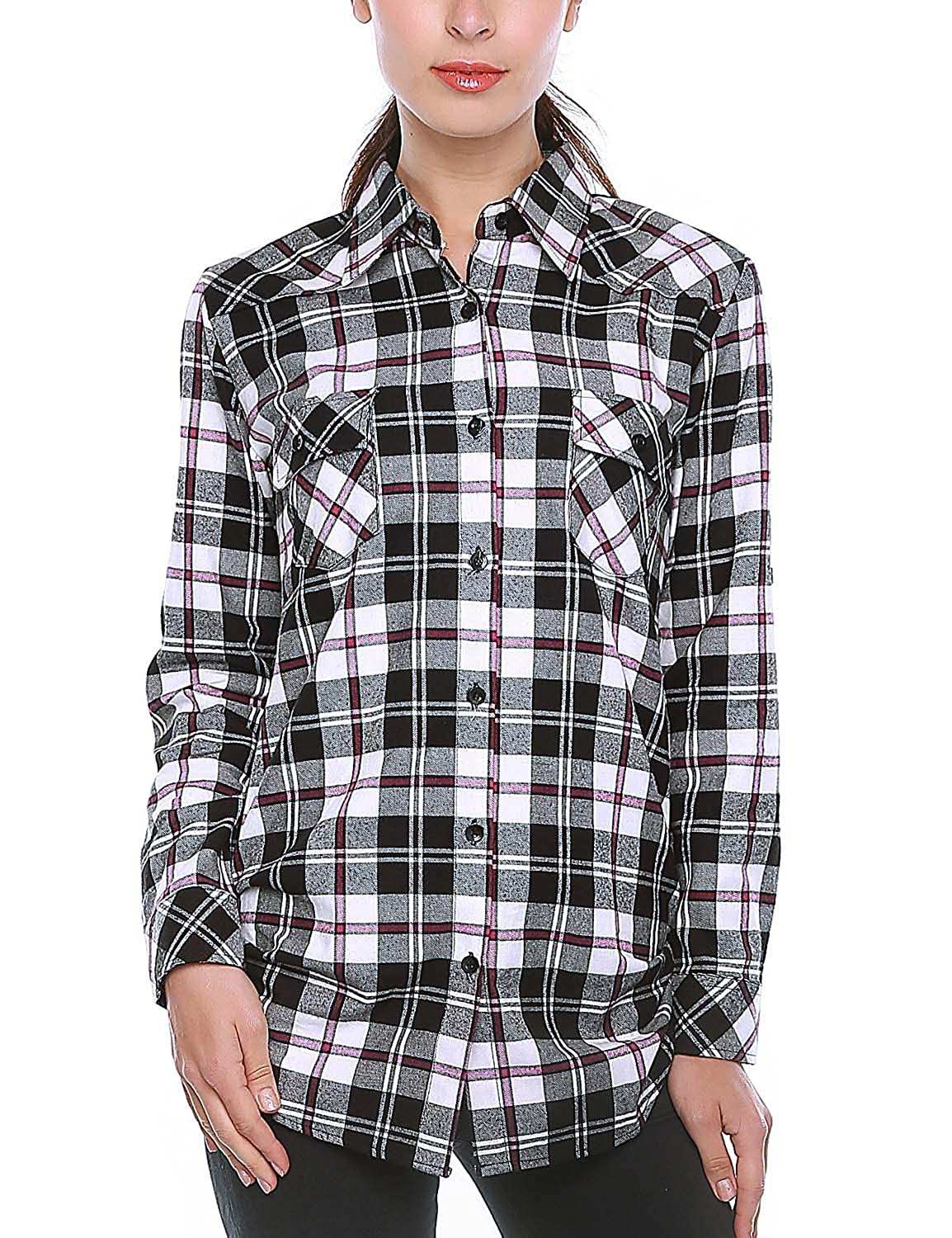 2021 Checks 5 Match Women's Long Sleeve Flannel Plaid Shirt
