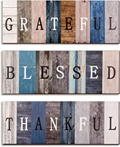 Thankful Grateful Blessed Wooden Signs Rustic Farmhouse Home Decor Sign Family Wood Wall Decor Rustic Family Pantry Laundry Bathroom Wood Sign Wall Sign for Home Dining Room Housewarming Kitchen Decor