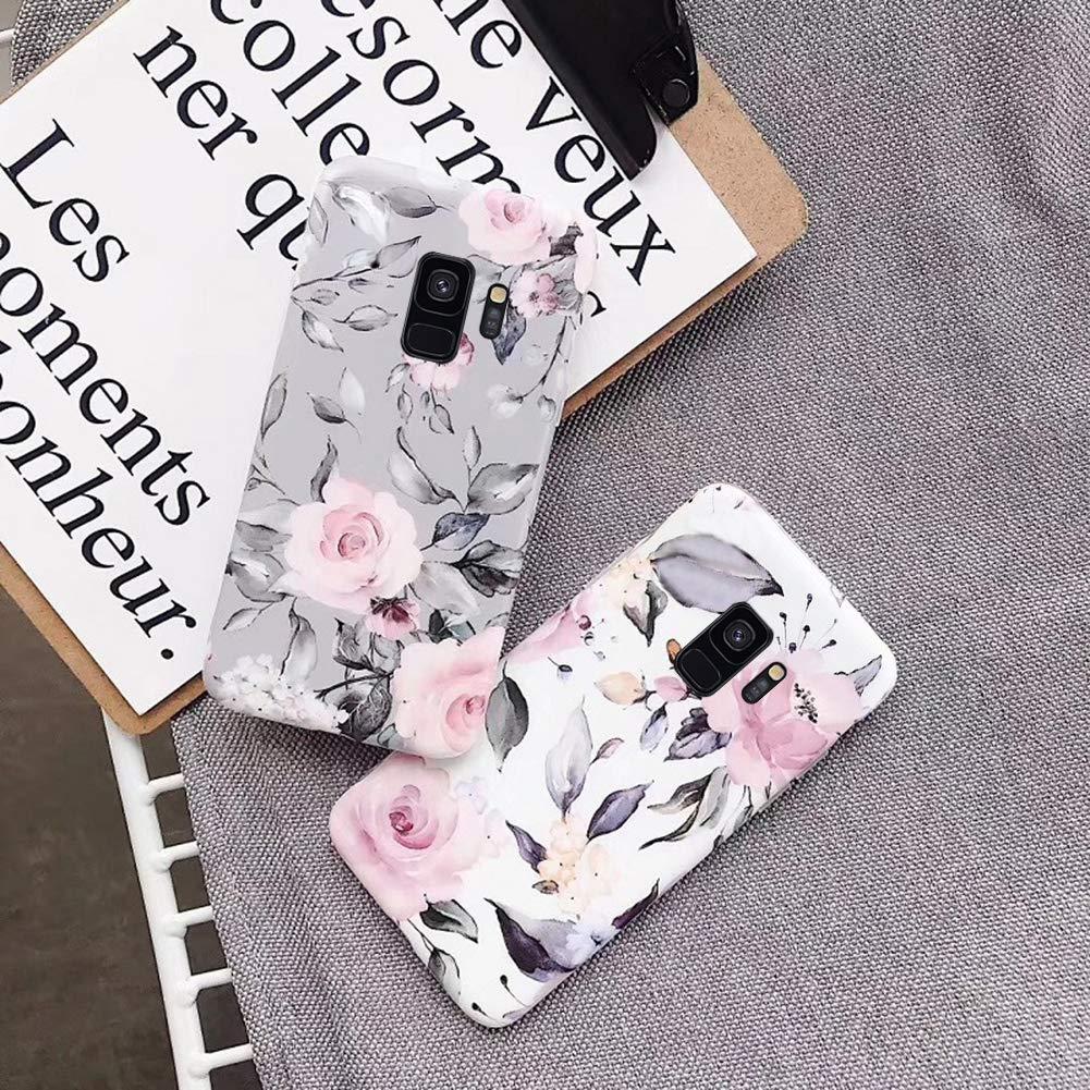 Uposao Kompatibel mit Samsung Galaxy S9 H/ülle Silikon Ultra D/ünn Handyh/ülle 3D Blumen Bl/ätter Bunt Muster Weich TPU Schutzh/ülle Etui Kratzfest TPU Bumper Handytasche Case Cover,Rose Blumen