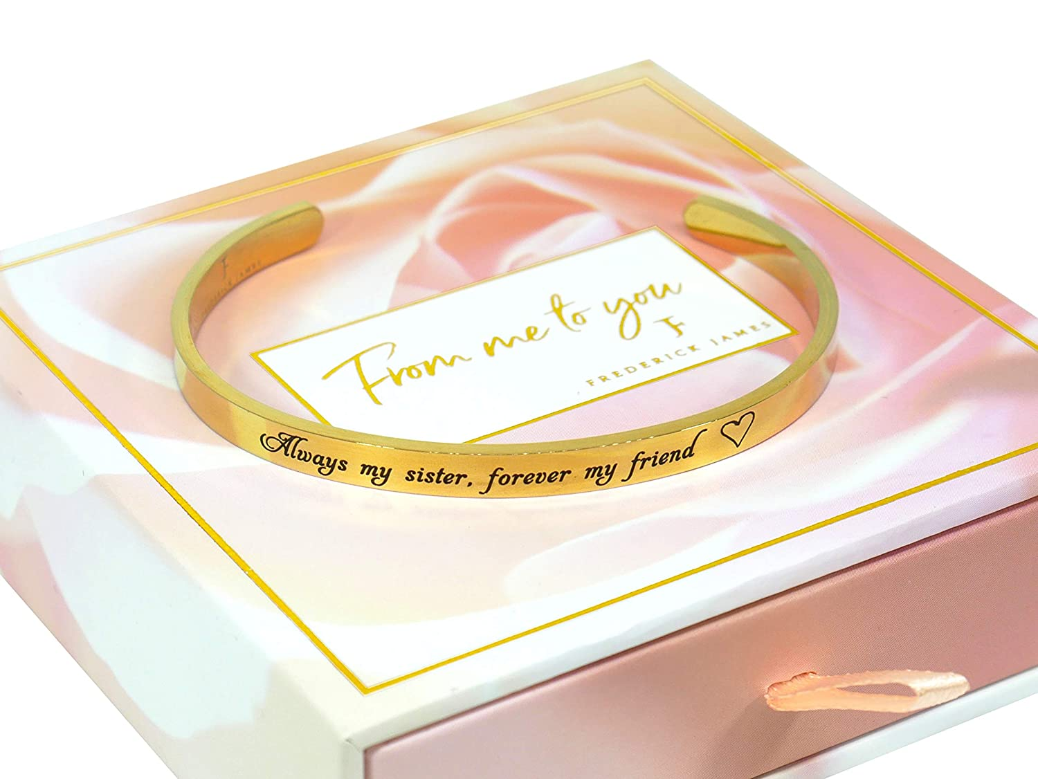 "Sister Gifts from Sister or Brother - ""Always My Sister, Forever My Friend"" Birthday Gifts for Sister Bracelets 