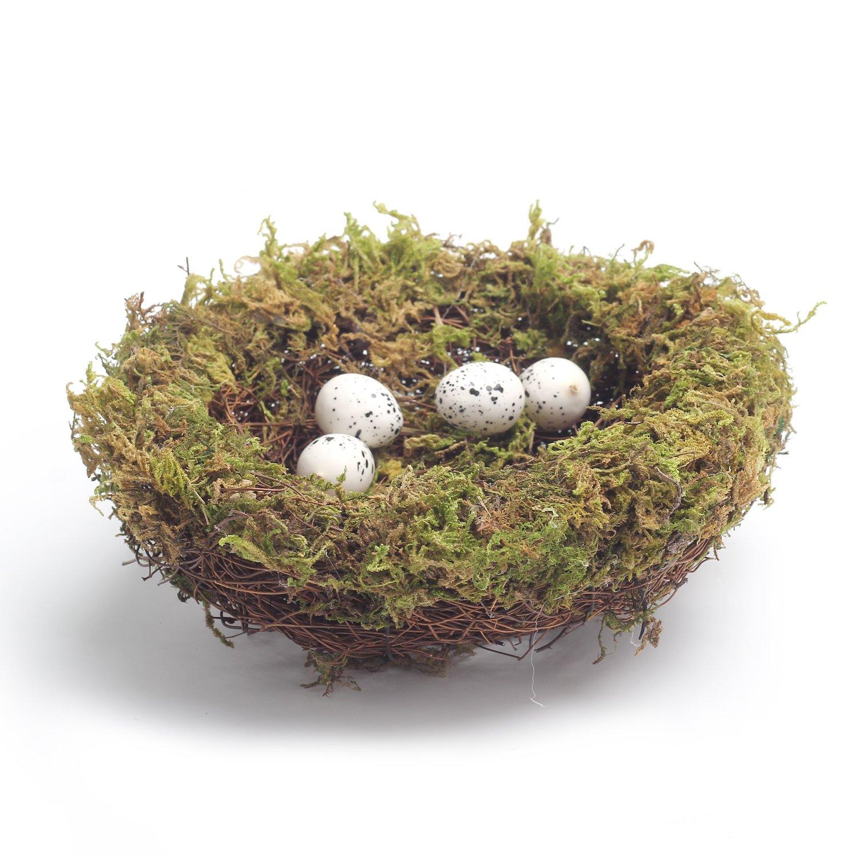 MomokoPeng Set of 2 Spring Bird Nests With Eggs,Twig Bird Nest Decorative Ornament With Clip(Green Bird's Nest) by MomokoPeng (Image #5)