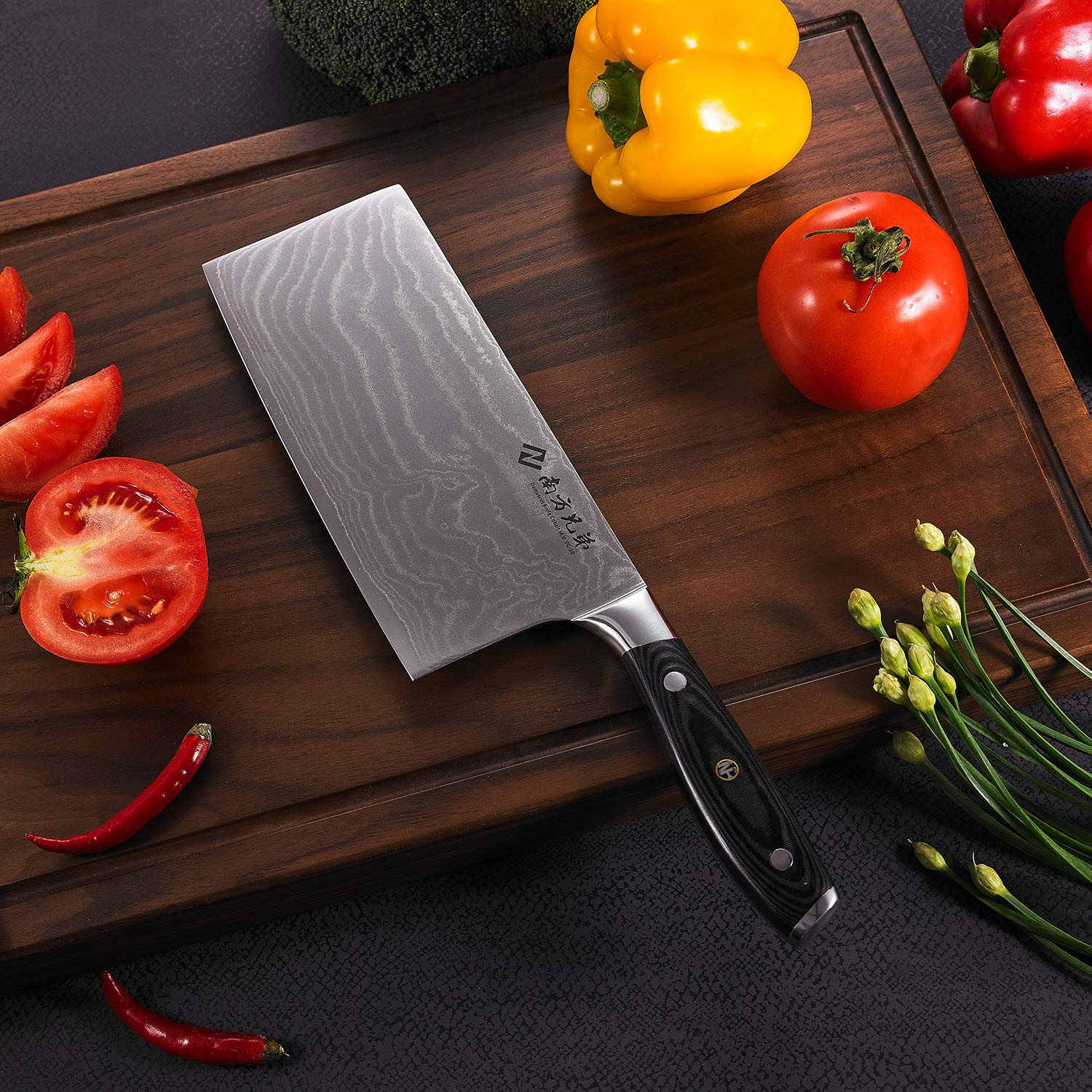 """Damascus Cleaver Knife, 7.2"""" Stainless Steel Chinese Chef Knives Vegetable Knife with Wooden Handle, Multipurpose Use for Kitchen or Restaurant by Nanfang Brothers (Image #6)"""