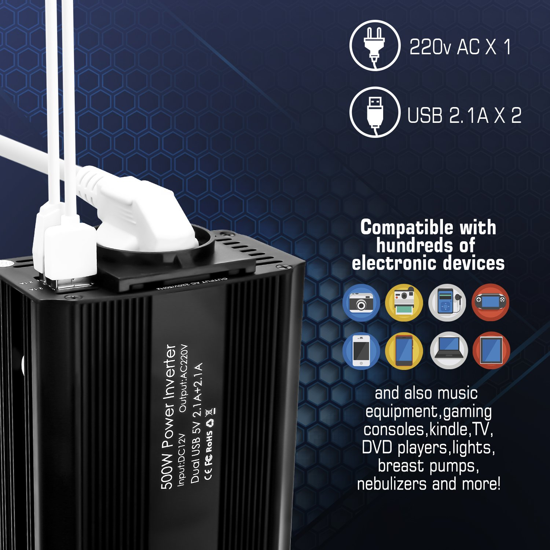 Bapdas 500W Inversor de Corriente Dual Puertos USB 5V//2.1A DC 12V 220V-240V AC salida