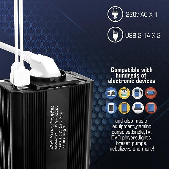 Bapdas 500W Inversor de Corriente, DC 12V, 220V-240V AC salida ...