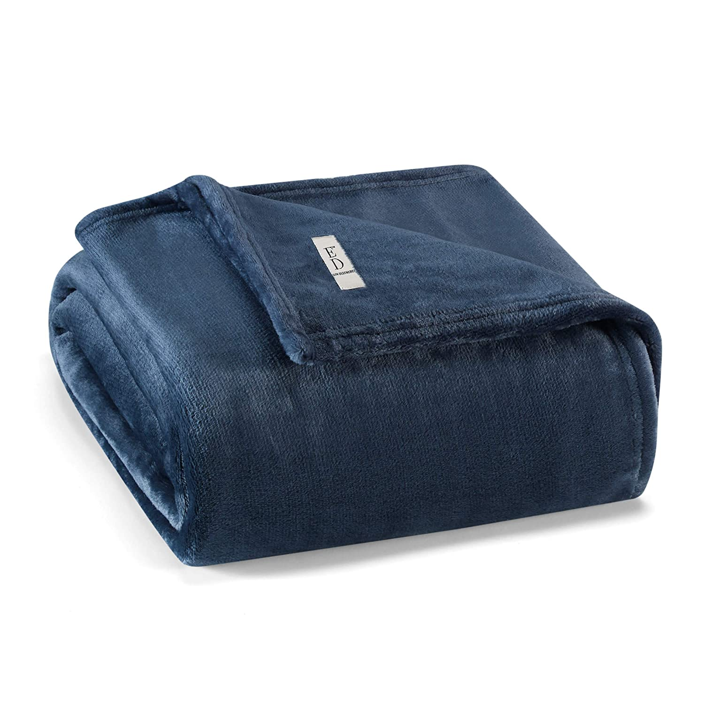 Ed-Ellen Degeneres Solid Ultra Soft Blanket, 50 x 70, Ellen Degeneres Plush Throw Blue