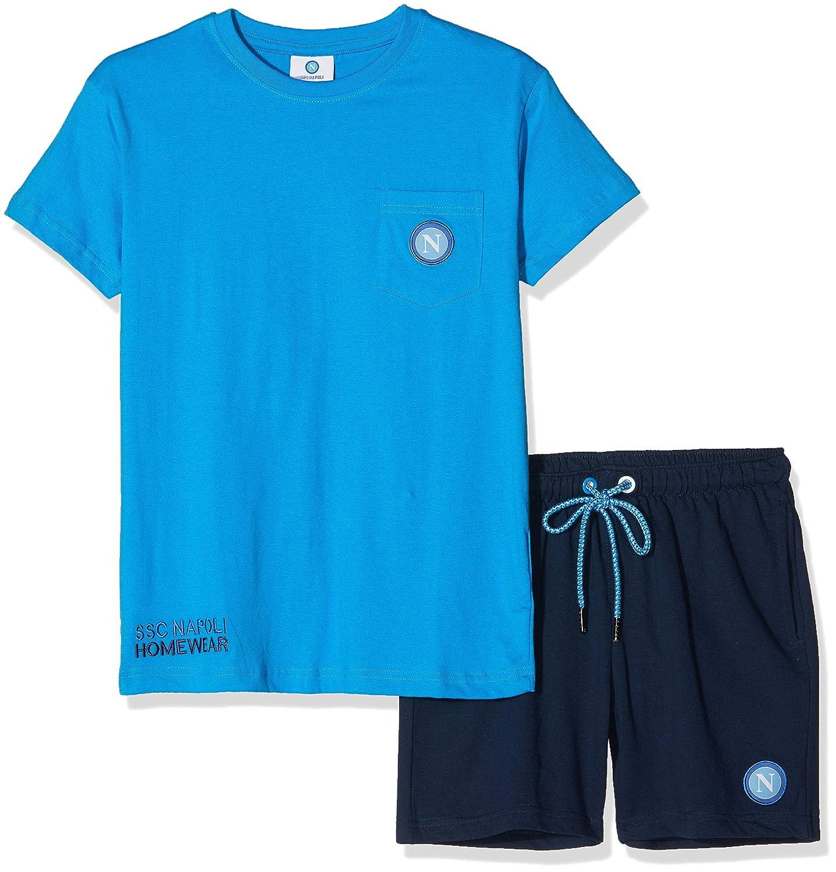 Celeste Completo Lifestyle Maglia con Taschino con Pantaloncini Unisex Bambini ssc napoli P19b1n90645 11-12 Anni