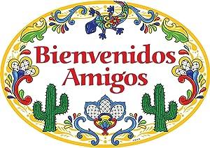 Essence of Europe Gifts E.H.G Bienvenidos Amigos Latino Traditional Southwest Motif Artwork Spanish Welcome Friends 11x8 Ceramic Door Sign by E.H.G.