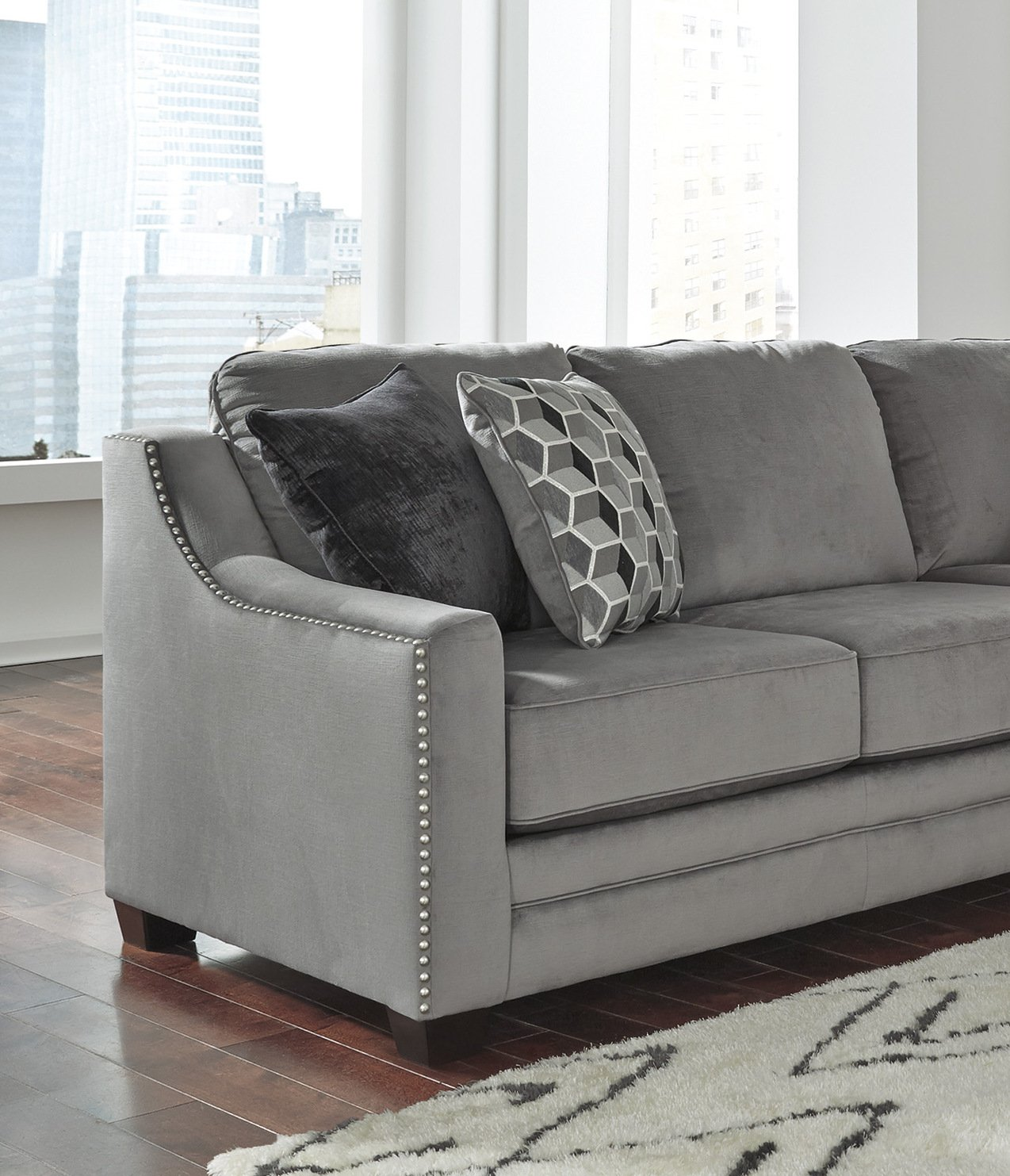 Incredible Amazon Com Bicknell Contemporary Charcoal Color Sectional Pdpeps Interior Chair Design Pdpepsorg
