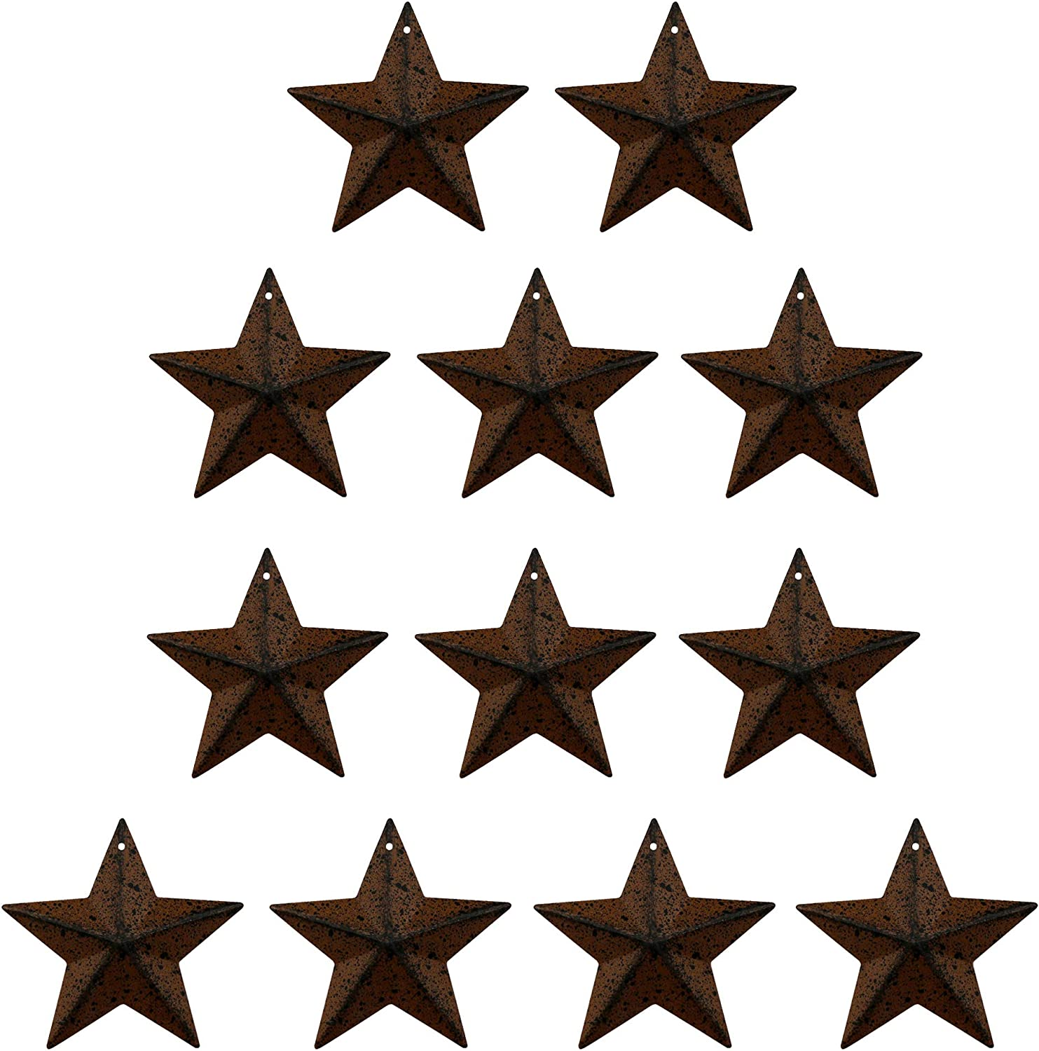 TAIANLE Primitives Tin Galvanized Barn Star,Rustic Antique Vintage Gifts Rusty/Black Wall/Door Decor, 3-Inch, Set of 12 (Multi) …