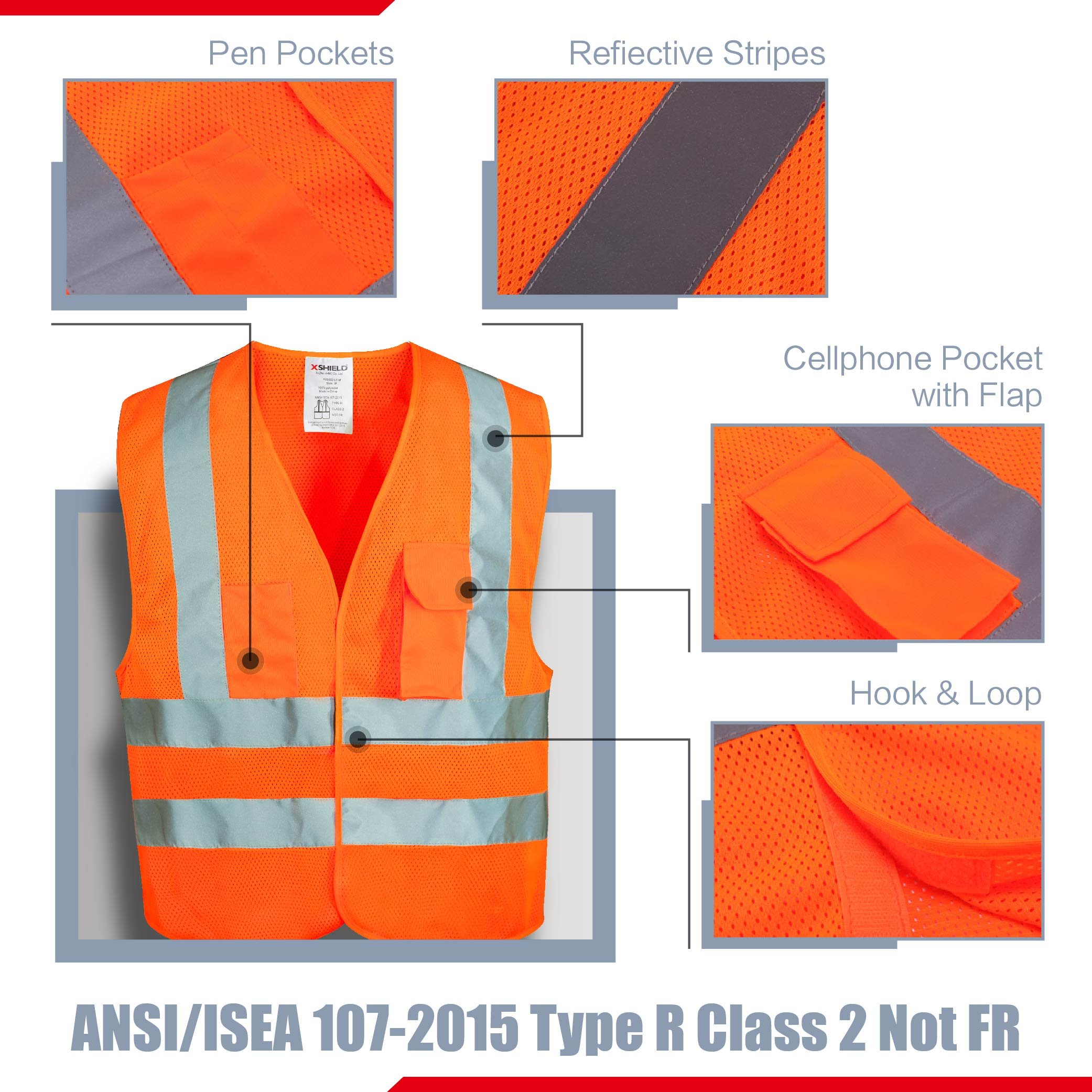 XSHIELD XS0006,High Visibility Mesh Safety Vest with Silver Stripe,ANSI/ISEA 107-2015 Type R Class2 Not FR,Pack of 5 (XL, Orange) by X-Shield (Image #2)