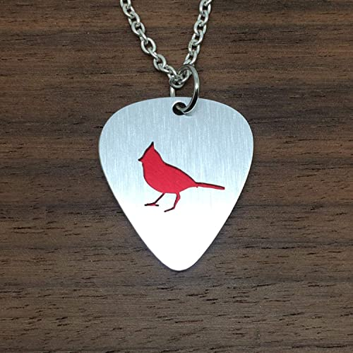 Cardinal Pendant Necklace or Key Ring Made From Aluminum Guitar Picks