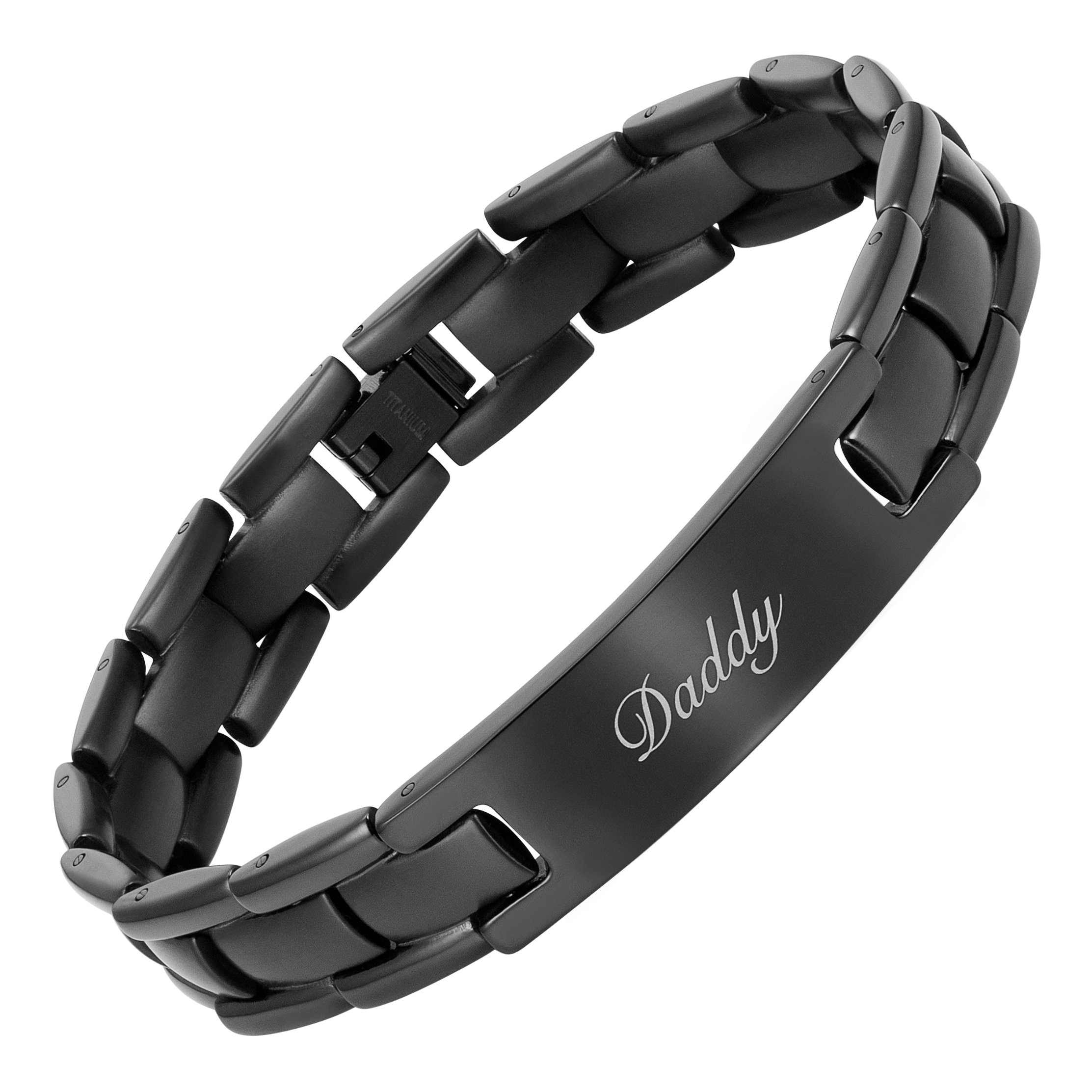 Willis Judd Daddy Titanium Bracelet Engraved Love You Daddy Adjusting Tool & Gift Box Included