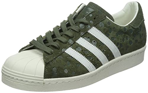 316110782319 adidas Originals Men s Superstar 80s Medium Olive and White Suede Sneakers  - 11 UK