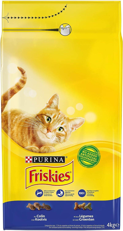 Purina Friskies Pienso para Gato Adulto Bacalao y Verduras 4 x 4 ...