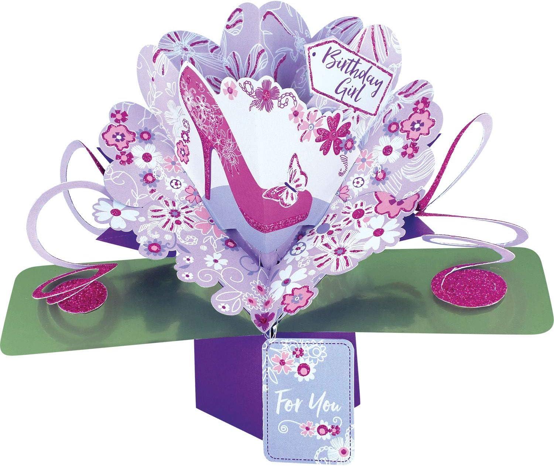 Second Nature Pop Ups Carte pop-up danniversaire avec inscriptionBirthday girl et rose /à chaussures