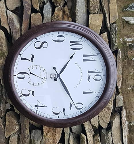 24 Inch Outdoor Thermometer.Large Giant Metal Outdoor Garden Wall Clock Thermometer 24inch 61cm Rust Colour