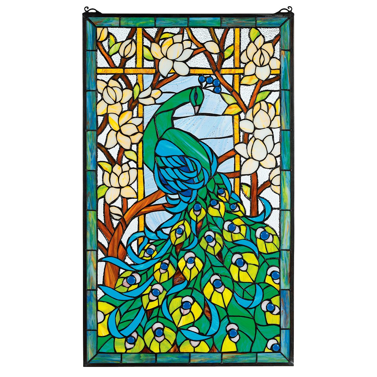 Amazon.com: Stained Glass Panel   Peacocku0027s Paradise Stained Glass Window  Hangings   Window Treatments: Wall Decor Stickers: Posters U0026 Prints