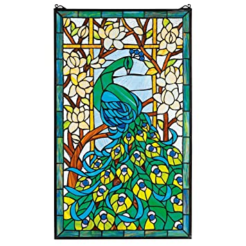 Amazoncom Stained Glass Panel Peacocks Paradise Stained Glass - Stained glass window stickers amazon
