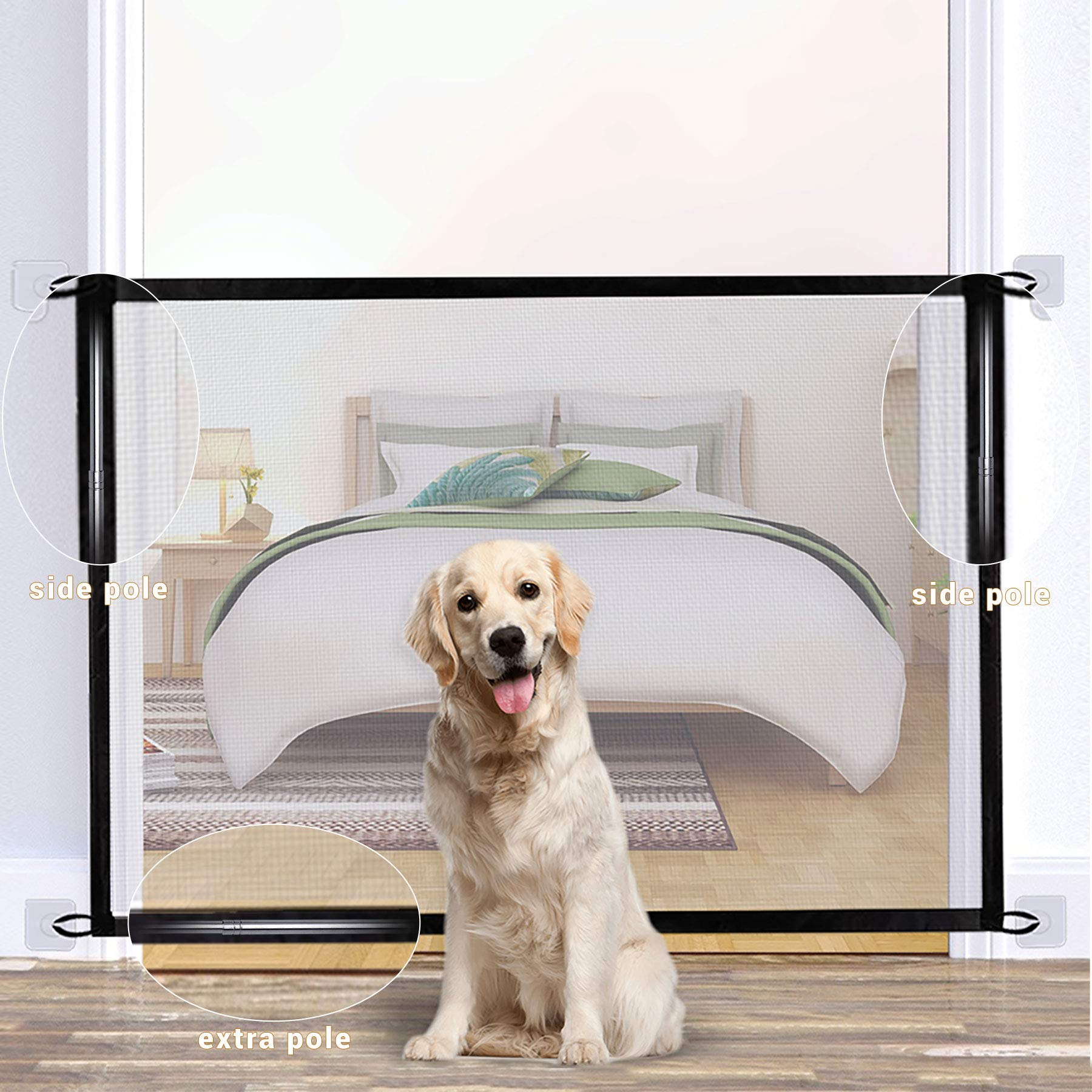 U-picks Magic Gates for Dogs, Portable Mesh Gate with Three Poles Stair Gate Safety Gate for Pets and Babies - 110x72cm