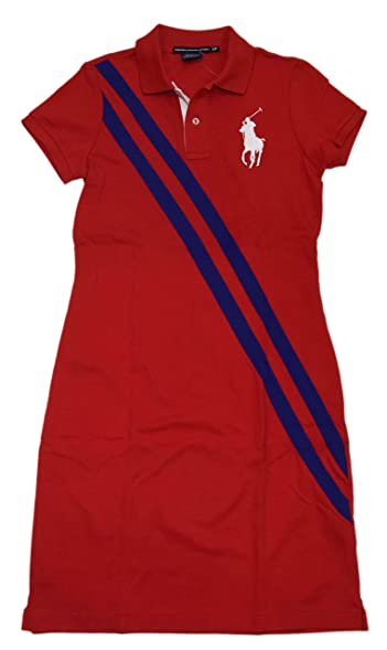 Polo Ralph Lauren Sport Womens Big Pony Tennis Dress Cotton Shirt Red Blue  Large