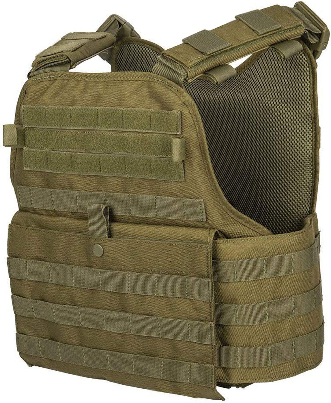 GFIRE Tactical Vest, Breathable Combat Training Vest - Adjustable, lightweight in green color. hook and loop closure