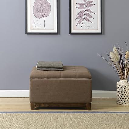 Belleze Large Ottoman Storage Table Upholstered Bench Linen Tufted Footrest  Seat Stool, Espresso Brown