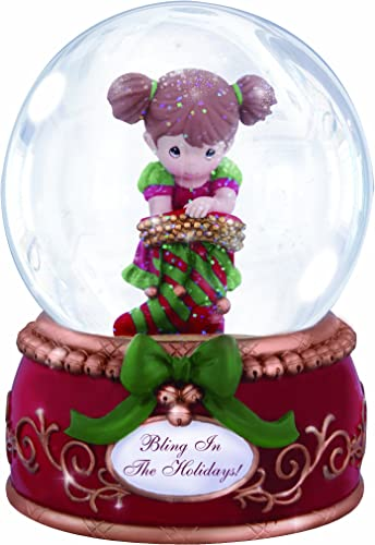 Precious Moments Bling in the Holidays Girl with Stocking Waterball Globe