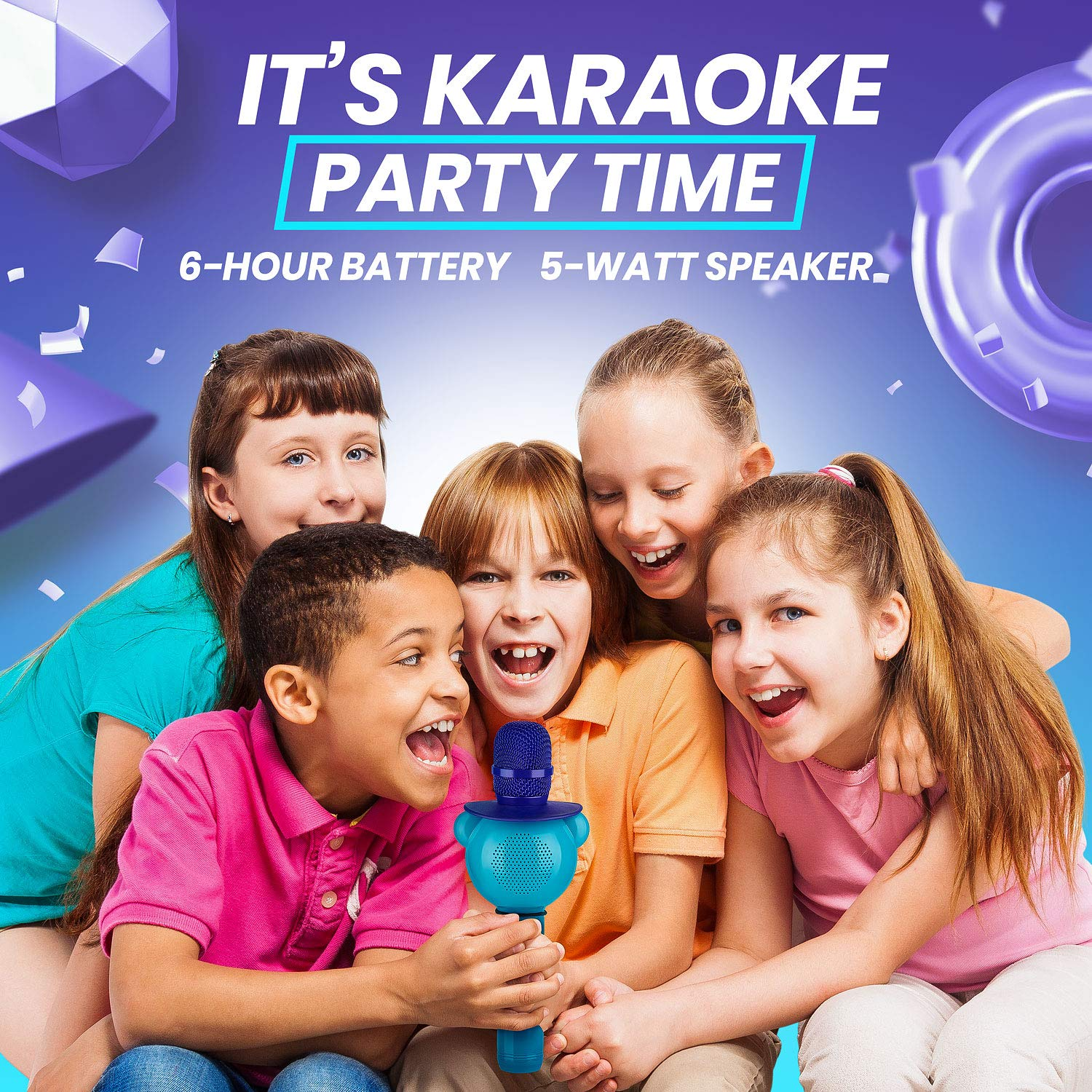 Wireless Karaoke Microphone for Kids - Bluetooth Mic Great for Solo Singing, KTV Parties, Magic Boys & Girls Christmas or Birthday Gifts - Portable Karaoke Machine for Kids Pop [Blue] by KaraoKing by KaraoKing (Image #5)